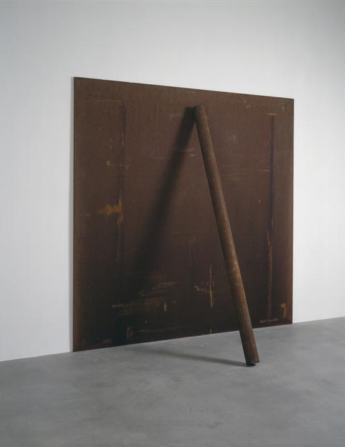 Richard Serra. <em>Plate, Pole, Prop</em>, 1969-1983. Steel, 240 x 240 x 20.3 cm. Courtesy of Gagosian Gallery © Richard Serra