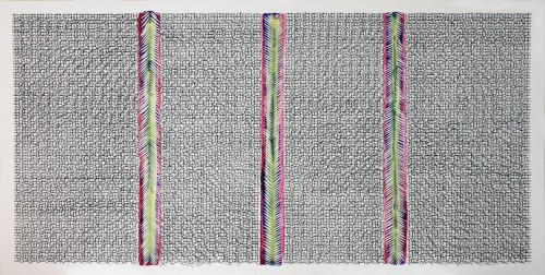 Hadieh Shafie. Grid/Cut 2, 2014. Ink and acrylic on mat board, 48 x 96 in (121.9 x 243.8 cm). Courtesy of the artist and Leila Heller Gallery, New York. Photograph: Jason Fagan.