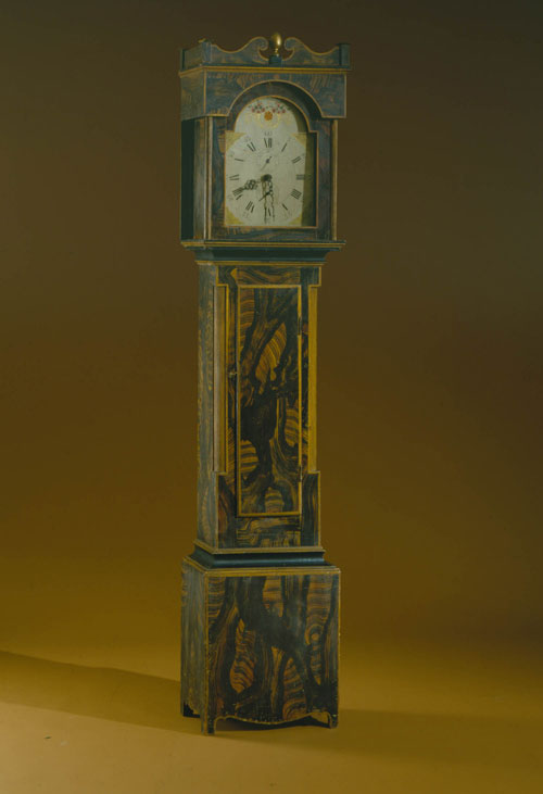 Maker unkown. <em>Tall Case Clock,</em> about 1830. Case, probably New Hampshire; works, Connecticut. Collection of the Shelburne Museum