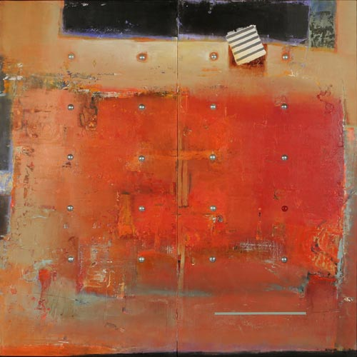 Sharon Booma. <em>No Burden of Persuasion.</em> Oil/mixed media on panel. 60 x 60  x 3 inches
