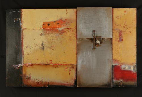 Sharon Booma. <em>Could Not Keep, Control or Hold.</em> Oil/mixed media on panel. 36 x 60 x 6 inches