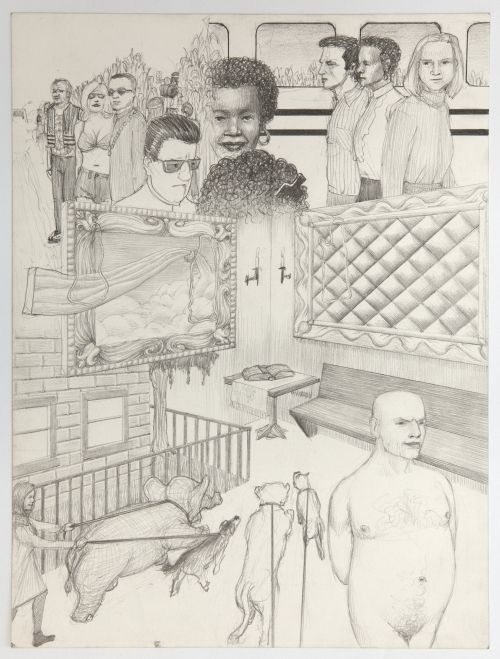 Jim Shaw, Dream Drawing (On the TV movie bio of Frank Sinatra...), 1996. Pencil on paper, 12 x 9 in