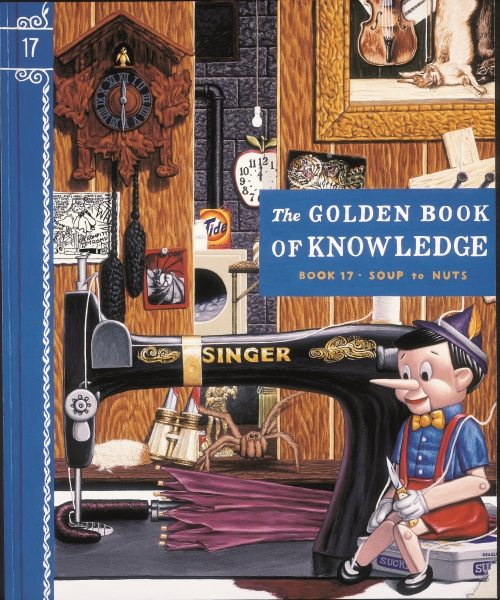 Jim Shaw, The Golden Book of Knowledge, 1989. Gouache on board, 17 x 14 in (43.2 x 35.6 cm). The