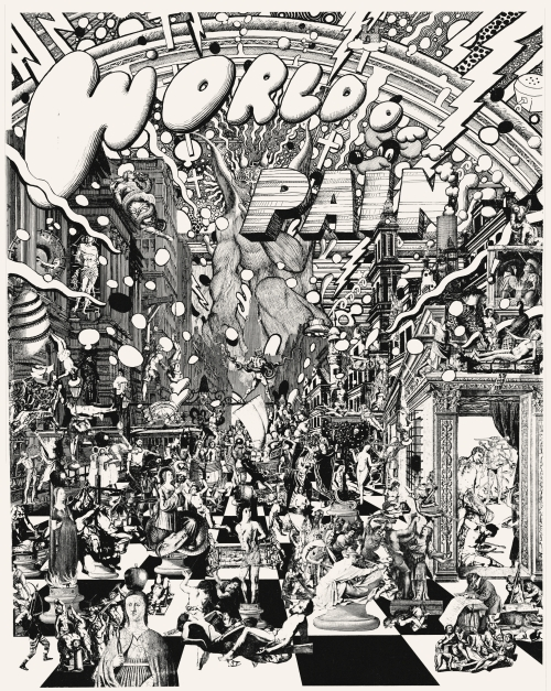Jim Shaw, World of Pain (Silver Version), 1991. Photostat on Mylar with cardboard back, 17 x 14 in (43.2 x 35.6 cm). Exhibition copy. Collection the artist
