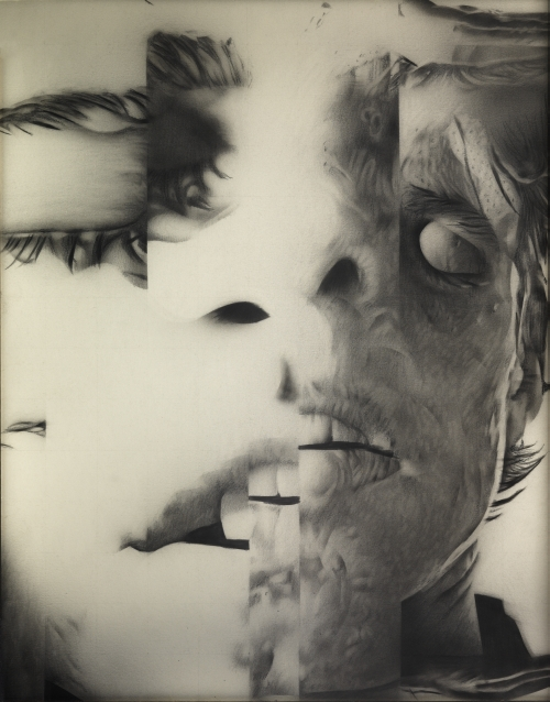Jim Shaw, Untitled (Distorted Faces series), 1985. Graphite, airbrush, and Prismacolor on paper, 14 x 11 in (35.6 x 27.9 cm). Collection the artist