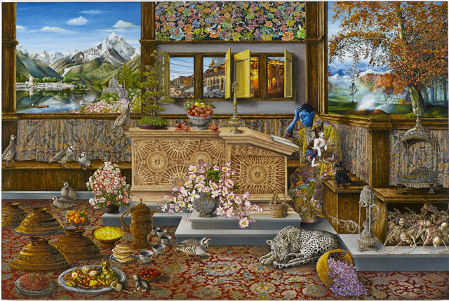 Raqib Shaw. Self Portrait in the Study at Peckham (After Vincenzo Catena) Kashmir Version, 2015-2016. Acrylic liner and enamel on birch wood, 47 15/16 x 71 15/16 in (121.8 x 182.8 cm). Photograph: Raqib Shaw (Prudence Cuming Associates Ltd).