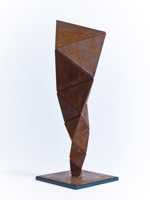 Conrad Shawcross. Paradigm Study (Solid), 2014. Corten steel. Height without plinth: 124 cm (48 7/8 in); Square base: 41 x 41 cm (16 1/8 x 16 1/8 in). Edition of 3 plus 2 artist's proofs. Courtesy the artist and Victoria Miro, London. © Conrad Shawcross.