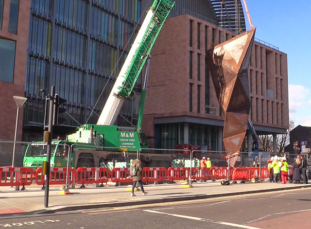 Installation of Paradigm outside the Francis Crick Institute, near King's Cross, London. Photograph: Martin Kennedy.