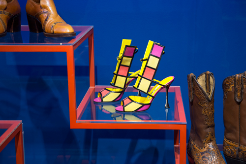 Installation view of Shoes: Pleasure and Pain. © Victoria and Albert Museum, London.