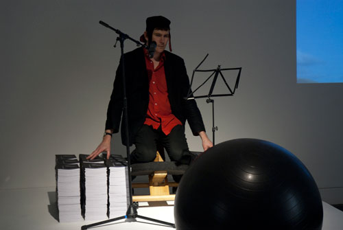 Bedwyr Williams. <em>Urbane Hick</em>, 2011. Performance, installation and limited edition book, duration: 30 minutes.