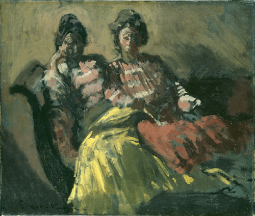 Walter Sickert. <em>The Women on a Sofa – Le Tose</em>, c. 1903–4. Oil on canvas, 457 x 533 mm. Bequeathed by Sir Hugh Walpole, 1941, © Tate, London 2008. © Estate of Walter R. Sickert. All rights reserved, DACS 2008.