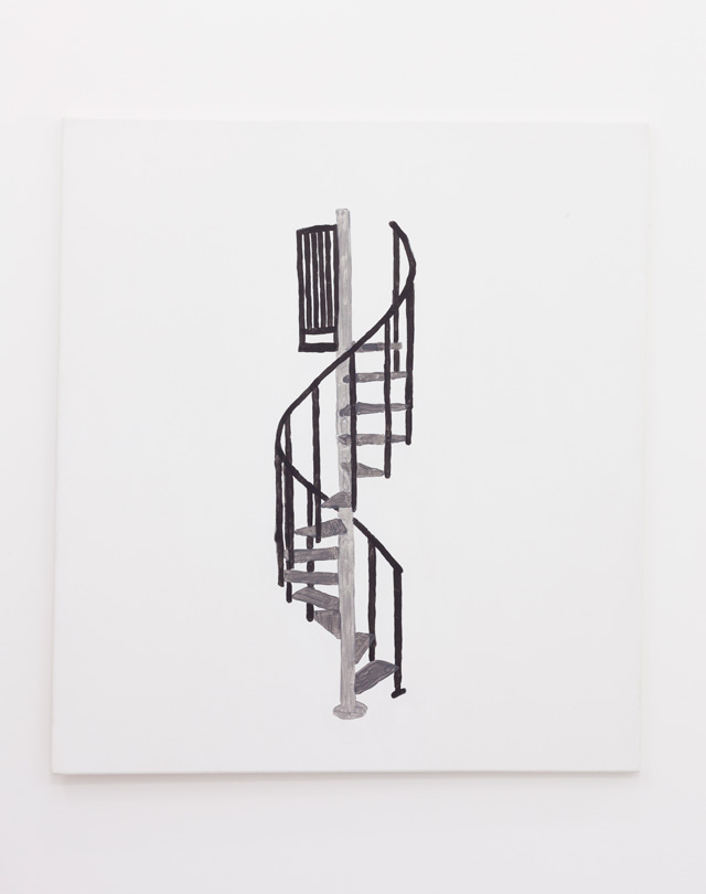 Richard Sides. Spiral staircase, 2016. Acrylic on canvas, 99.5 x 89.5 x 2 cm.