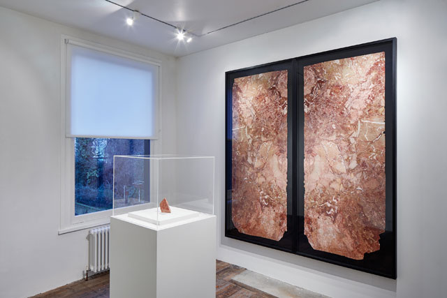 Amie Siegel. Dynasty, 2017. Mixed media including marble fragment from Trump Tower, dimensions variable. Exhibition view, South London Gallery, 2017. Courtesy the artist and Simon Preston Gallery, New York. Photograph: Andy Stagg.