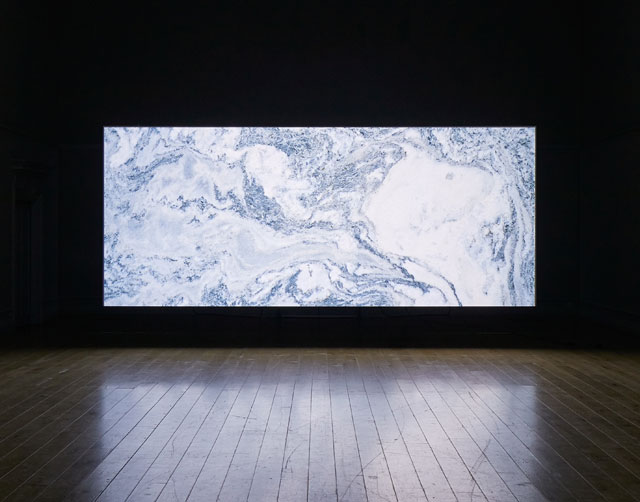 Amie Siegel. Quarry, 2015. HD video, colour/sound. Exhibition view, South London Gallery, 2017. Courtesy the artist and Simon Preston Gallery, New York. Photograph: Andy Stagg.