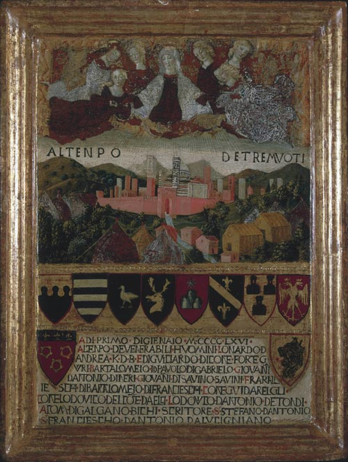Francesco di Giorgio. <em>The Virgin Mary protects Siena from the Earthquakes</em>, 1467&ndash;8<br />