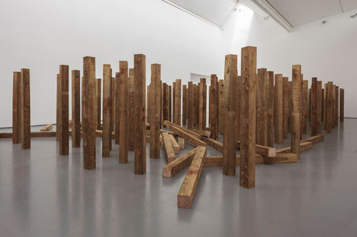 Roman Signer. Installation with wooden beams, 2015. Photograph: Ruth Clark, courtesy of Dundee Contemporary Arts.