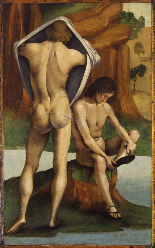 Luca Signorelli. <em>Two Virile Nudes (part of the Pala Bichi)</em>, 1488-89. Oil on panel, 67.9 x 41.9 cm. Toledo Museum of Art, Toledo, Ohio.
