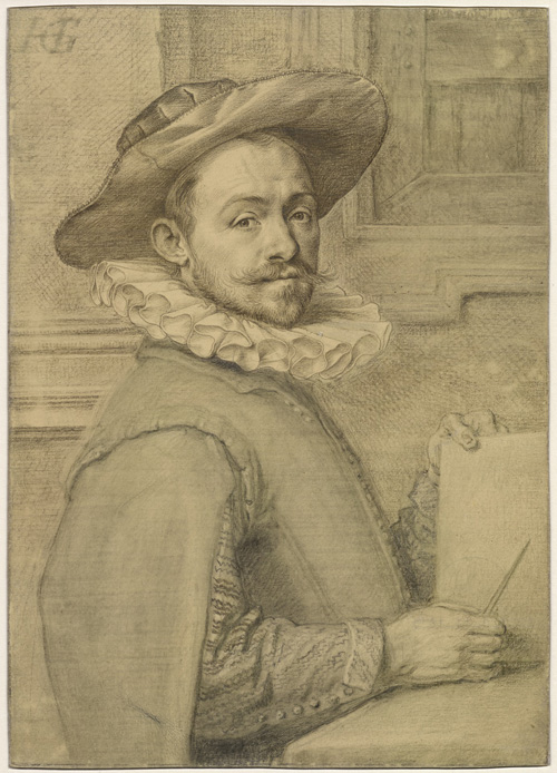 Hendrik Goltzius. Self-portrait holding a copper-plate, c1589. Silverpoint on yellow-prepared vellum with grey and blue-grey wash, 14.6 x 10.4 cm © The Trustees of the British Museum.