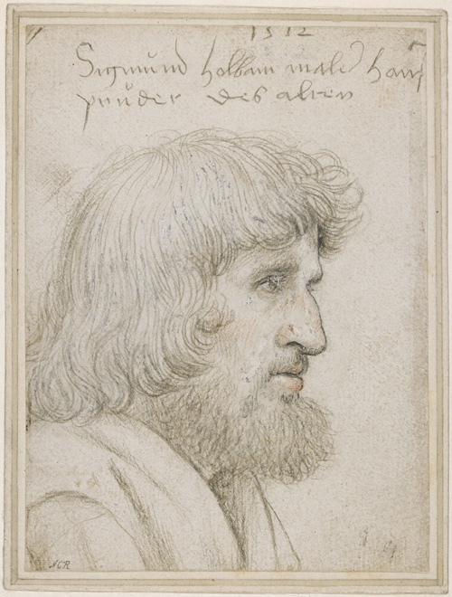 Hans Holbein the Elder. Portrait of the artist's brother Sigmund, 1512. Silverpoint, with black and red chalk, heightened with white bodycolour on white prepared paper, 12.9 x 9.6 cm. © The Trustees of the British Museum.