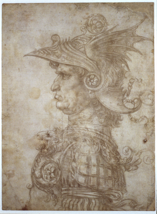 Leonardo da Vinci. Bust of a warrior, c1475. Silverpoint on cream prepared paper, 28.7 x 21.1 cm. © The Trustees of the British Museum.