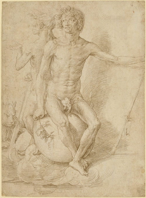 Lucas van Leyden. Two nude allegorical figures seated back-to-back on a sphere, c1516. Silverpoint on prepared paper, 27.7 x 20.5 cm © The Trustees of the British Museum.