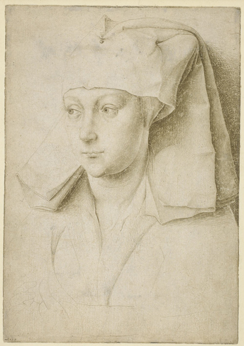Rogier van der Weyden. Portrait of an unknown young woman, c1435. Silverpoint on cream prepared paper, 16.6 x 11.6 cm. © The Trustees of the British Museum.