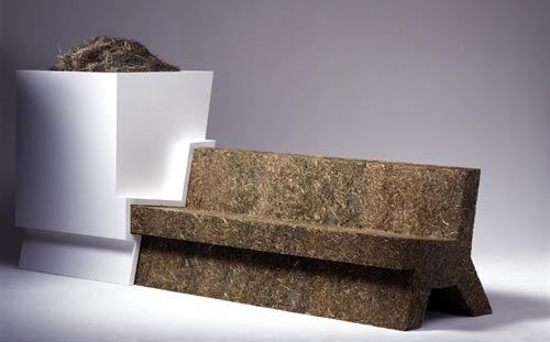Droog Design <em>Garden Bench</em>. Jurgen Bey, 1999. Hay, resin, MDF. Collection Droog Design. Photo: Marsel Loermans.