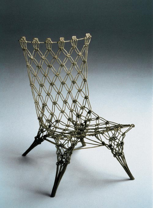 Droog Design. <em>Knotted Chair</em>, Marcel Wanders, 1996 50 x 60 x 100 cm. Carbon and aramid fibres, epoxy resin. Collection Droog Design. Photo: Hans van der Mars.