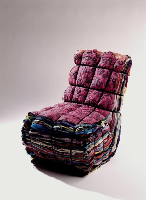 Droog Design<em>. Rag</em> <em>Chair</em>, Tejo Remy, 1991 60 x 60 x 110 cm. Used clothes, metal strips. Collection Droog Design. Photo: Hans van der Mars.