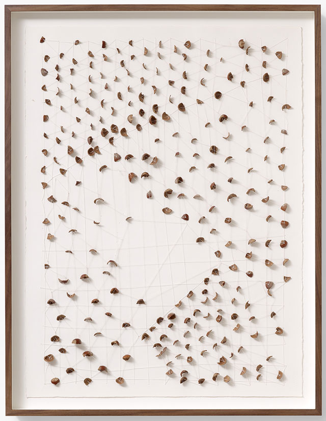 Daniel Sinsel. Untitled, 2013. Hazelnut shells, linen and paper, 76.5 x 57 cm (30 x 22 ⅜ in). Copyright the artist, courtesy Sadie Coles HQ, London.