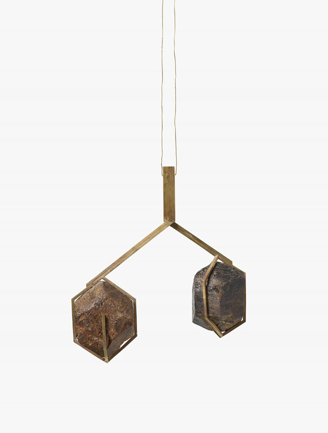 Daniel Sinsel. Untitled, 2016. Almandine garnets and brass, 