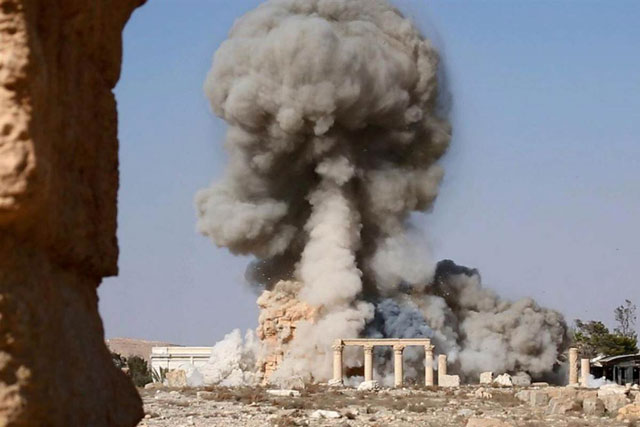 The bombing of the ancient monuments at Palmyra has been used by extremists as part of their 'shock and awe' campaign of internet-facilitated intimidation.