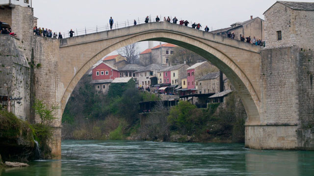The reconstruction of the Mostar Bridge, 2004, was largely funded by the countries whose peacekeeping troops were stationed in the area after the Bosnian War.