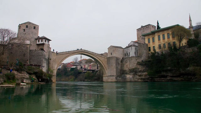 The Mostar Bridge, built by the Ottomans in the 16th century, was considered one of the world's most significant Islamic artefacts. It was bombed during the Bosnian Wars (1992-1995) by the anti Muslim Croat militia, along with many other religious, educational and cultural buildings.