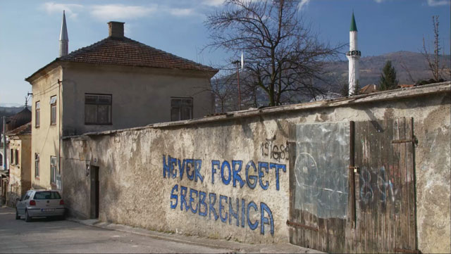 Graffiti from the Bosnian War (1992-5) has been left to bear witness in Srebrenica.