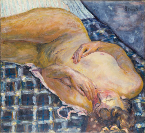 Pierre Bonnard. Nude Lying on a White and Blue Checked Background, c1909. Oil on canvas, 60 x 65 cm. Städel Museum, Frankfurt am Main, © U. Edelmann - Städel Museum - ARTOTHEK / © Bildrecht, Vienna, 2015.