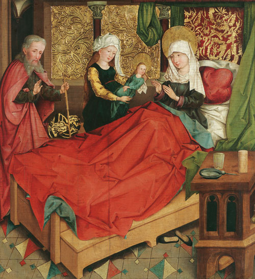Master of the Divisio Apostolorum. The Nativity of the Virgin, c1490/95. Painting on spruce, 78 x 73.5 cm. © Belvedere, Vienna.