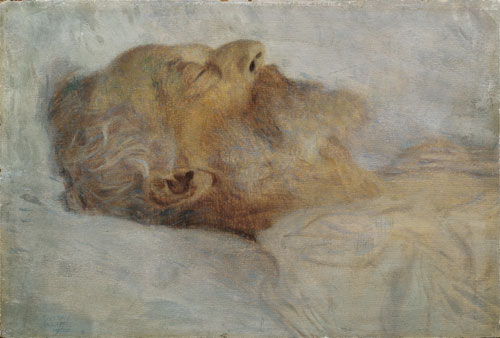 Gustav Klimt. Old Man on Death Bed, 1899. Oil on millboard, 30.4 x 44.8 cm. © Belvedere, Vienna.