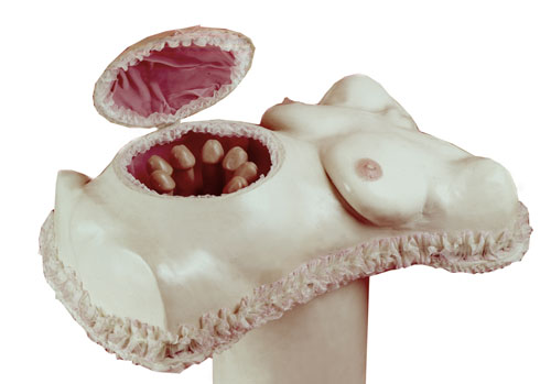 Penny Slinger. Pandora's Box (Opening exhibit), 1973. Fibreglass and wax life casts and mixed media, 24 x 20 x 36 in. Courtesy and copyright Penny Slinger.