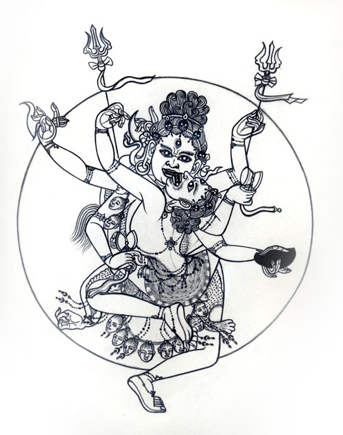 Penny Slinger. Mahakala and consort (Sexual Secrets), 1979. Pencil on paper, 14.5 x 12 in. Courtesy Blum and Poe Gallery. © Penny Slinger.