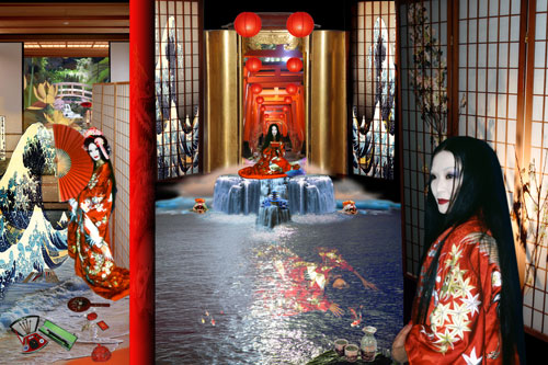 Penny Slinger. Secret Geisha (64 Dakini Oracle), 2010. Digital photo collage, 30 x 20 in. Courtesy and copyright Penny Slinger.