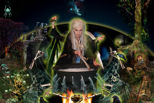 Penny Slinger. Crone Llamo (64 Dakini Oracle), 2010. Digital photo collage, 30 x 20 in. Courtesy and copyright Penny Slinger.