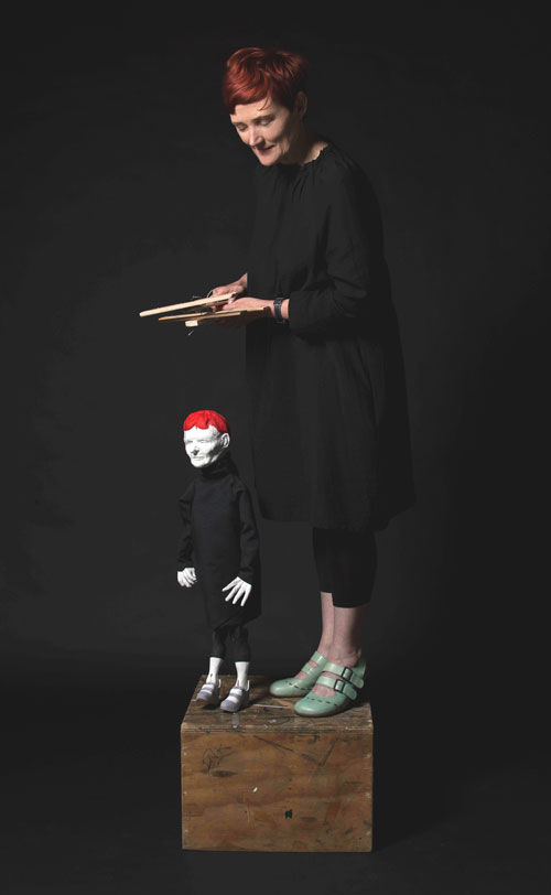 Sally Smart. Pedagogical Puppet (Self Portrait), 2012. Digital Photograph, 198 cm x 101 cm (Ed 5 AP 2). Courtesy the artist, Postmasters Gallery, New York.