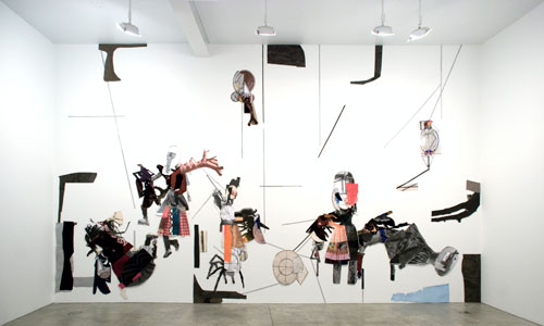 Sally Smart. Flaubert's Puppets, 2011. Installation view, Postmasters Gallery New York. Mixed media 450 cm x 800 cm. Courtesy the artist, Postmasters Gallery, New York.