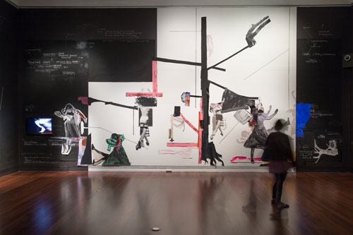 Sally Smart. The Choreography of Cutting, 2014. Installation view, Adelaide Biennial, Art Gallery of South Australia. Mixed media, size variable. Courtesy the artist and Art Gallery of South Australia.