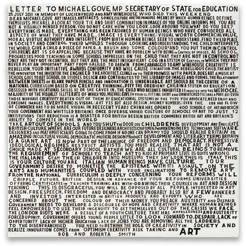 Bob and Roberta Smith. Letter to Michael Gove MP, 25 July 2011. Courtesy Bob and Roberta Smith.