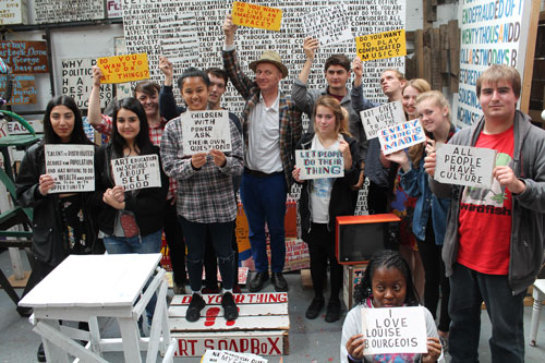 Bob and Roberta Smith. Young people from William Morris Gallery visiting Bob and Roberta's studio, Ramsgate, August 2015. Photograph courtesy William Morris Gallery, London Borough of Waltham Forest.