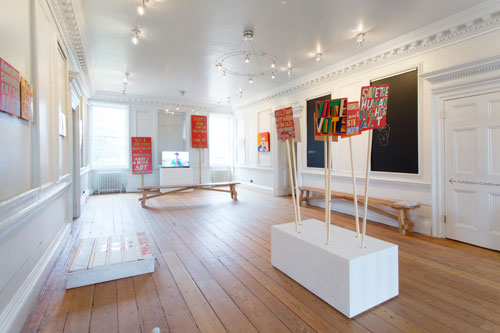 Bob and Roberta Smith. Art Is Your Human Right: The Artistic Campaigns of Bob and Roberta Smith, 16 October 2015 – 31 January 2016. Installation view (1). Courtesy Bob and Roberta Smith. Photograph: Nicola Tree.
