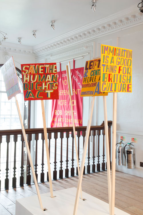 Bob and Roberta Smith. Art Is Your Human Right: The Artistic Campaigns of Bob and Roberta Smith, 16 October 2015 – 31 January 2016. Installation view (2). Courtesy Bob and Roberta Smith. Photograph: Nicola Tree.