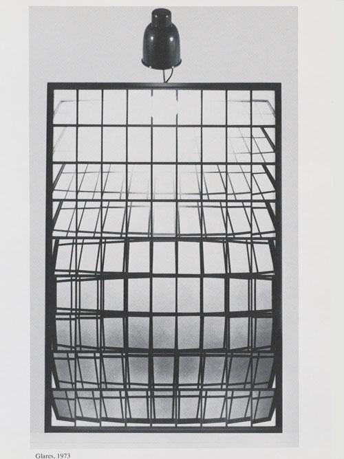 Michael Snow. Glares, 1973. 81 black-and-white photographs, mounted on Masonite painted with acrylic; light fixture; frame, 58 3/8 x 39 3/8 in (149.2 x 100.3 cm). Manulife Financial Corporate Art Collection.